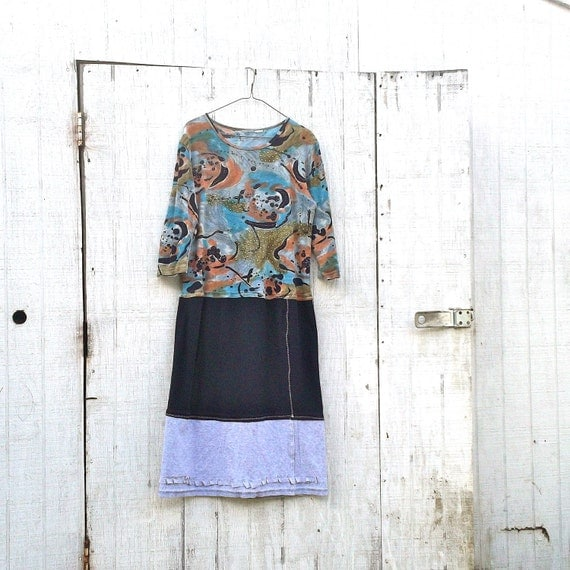 upcycled clothing - romantic Funky  Eco Tattered Floral Mini Dress by CreoleSha