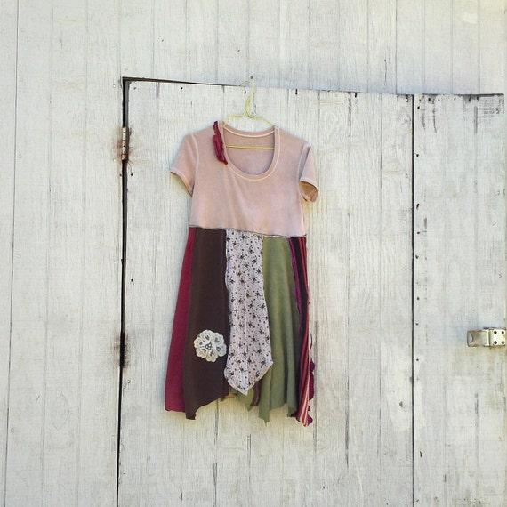 little Creme Brulee Panel Dress by CreoleSha - upcycled clothing / women's clothing / romantic clothing