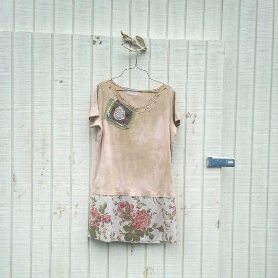 Reserved - funky dress / eco dress / upcycled clothing / tattered dress / casual dress / boho mini dress