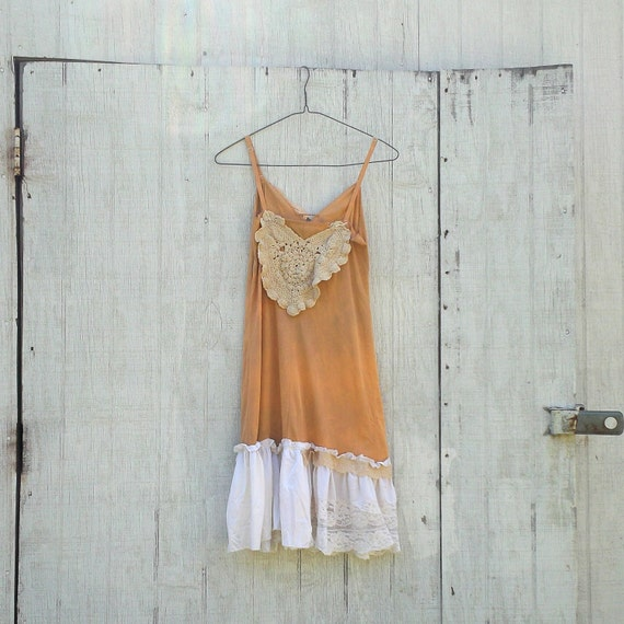 COUPON code SaLE Funky Slip Dress / Eco Vintage Dress / Tattered Artsy Slip Dress
