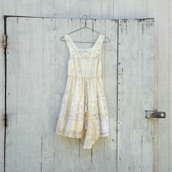 romantic lace dress / Funky Lace Dress / Eco Vintage Dress / Tattered Artsy Wedding Dress