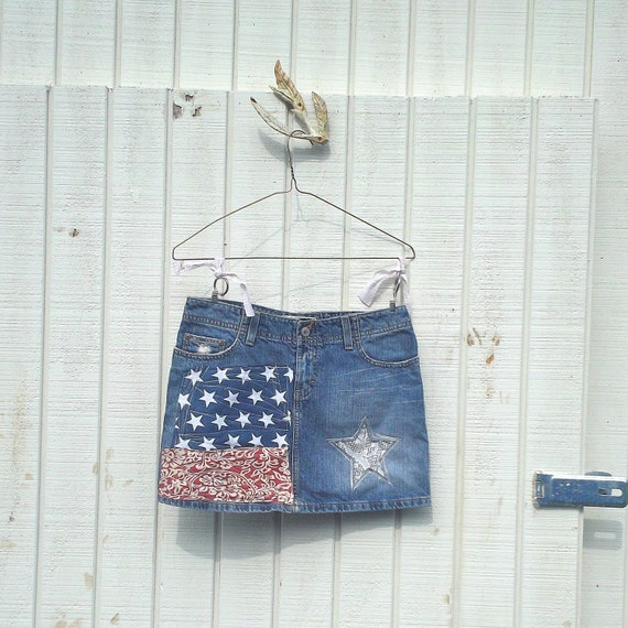 COUPON code SALE - Patriotic / Americana / 4th of July / Baseball / romantic Funky and Flirty Eco Denim Mini Skirt