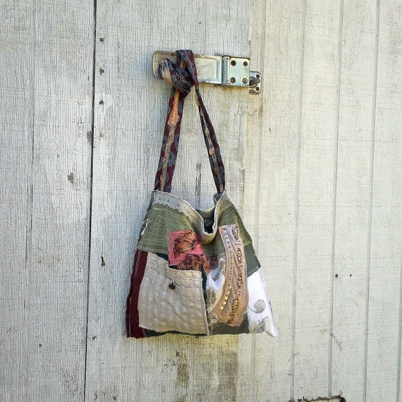 upcycled purse / funky eco Tattered Patchwork Handbag / Tote / Purse - Wearable Art