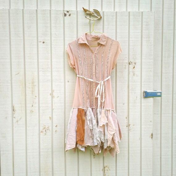 romantic dress / womans dress / Funky Eco Tattered Fairy Woodland Pixie Mini Dress