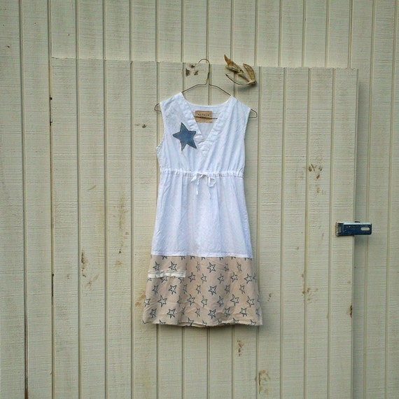 Americana Collection / Patriotic / 4th of July / upcycled womens clothing by CreoleSha - romantic dress / eco dress