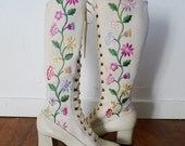 Sixties flower power lace up boots