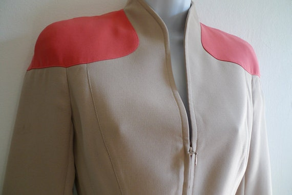 Vintage THIERRY MUGLER beige and coral jacket