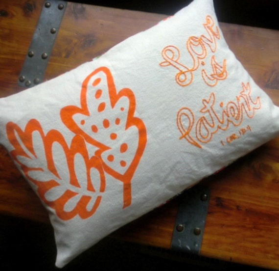 ORGANIC cotton and hemp hand painted and embroidered  pillow free shipping