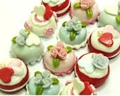 Miniature Roses Polymer Clay Beads for Food Jewelry 12 pcs