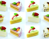 Miniature Food Polymer Clay Bakery for Dollhouse and Jewelry, set of 12 pieces