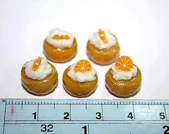 Miniature Foods Polymer Clay Cupcake with Sweet Tangerine 5 pieces