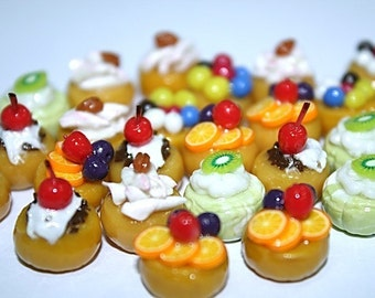 Miniature Foods Cupcake Polymer Clay Supplies for Beaded Jewelry 25 pcs