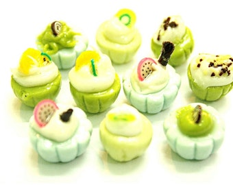 Miniature Food Polymer Clay Beads & Jewelry Supplies 10 pcs