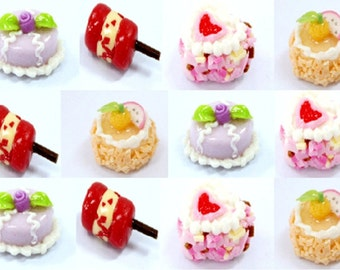 Miniature Foods Polymer Clay Beads for Beaded Jewelry Supplies 12 pcs