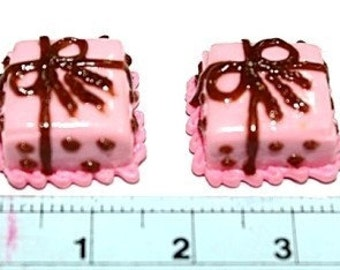 Miniature Bakery Polymer Clay Beads Strawberry Cream Cake 2 pieces