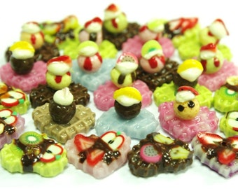 Miniature Foods Waffle Polymer Clay Supplies for Beaded Jewelry and Dollhouse 10 pcs