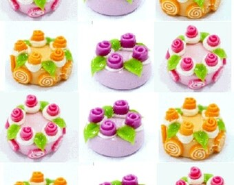 Miniature Cakes and Roses Polymer Clay Supplies for Foods and Beaded Jewelry 6 pcs