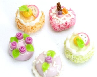 Miniature Foods Polymer Clay Beads & Food Jewelry 5 pcs