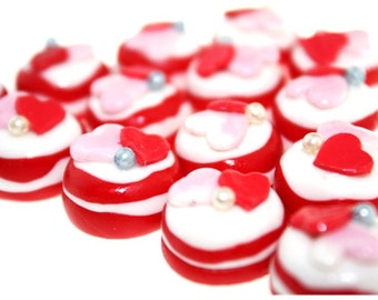 Miniature Foods Polymer Clay Beads with Rose Jeweley Supplies 6 pcs