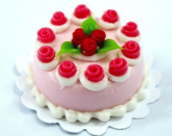 Strawberry Cheese Cake with Pink Roses, 2.0 cm Mini Cake 1 pcs