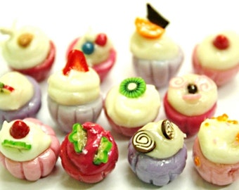 Miniature Foods Polymer Clay Beads Jeweley Supplies 12 pcs