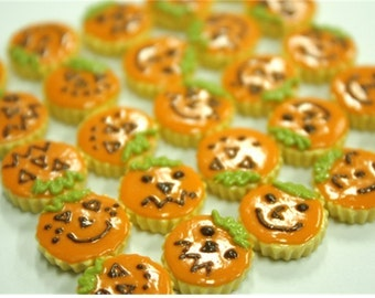 Miniature Foods for Dollhouse and Beads Jewelry Pumpkin Tarts 12 pieces