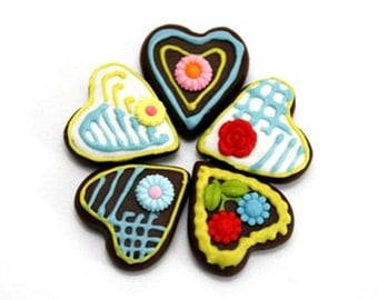 Miniature Foods Polymer Clay Supplies Bavarian Gingerbread for Beaded jewelry 5 pcs