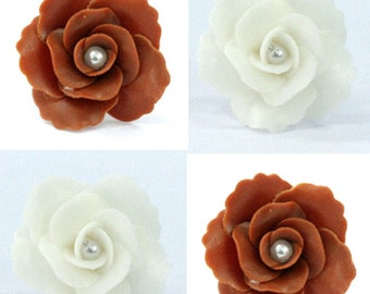 Handcrafted Miniature Roses Polymer Clay Flowers Supplies 12 pcs