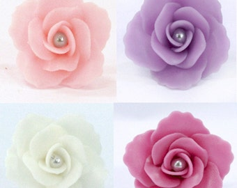 Handcrafted Miniature Roses Polymer Clay Flowers Supplies for Beads Jewelry 20 pcs