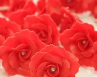 10 pcs. of Bloody Red Clay Roses with white pearl