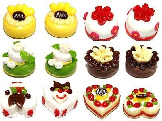 Vivid colors Cake Cafe, Miniature cake, set of 12 pieces