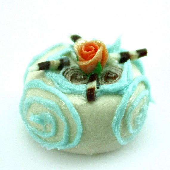 Polymer clay beads, Sweet Cake with orange Roses Decoration