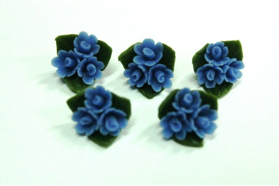 Blue Wild Flowers Clay, set of 12 pieces