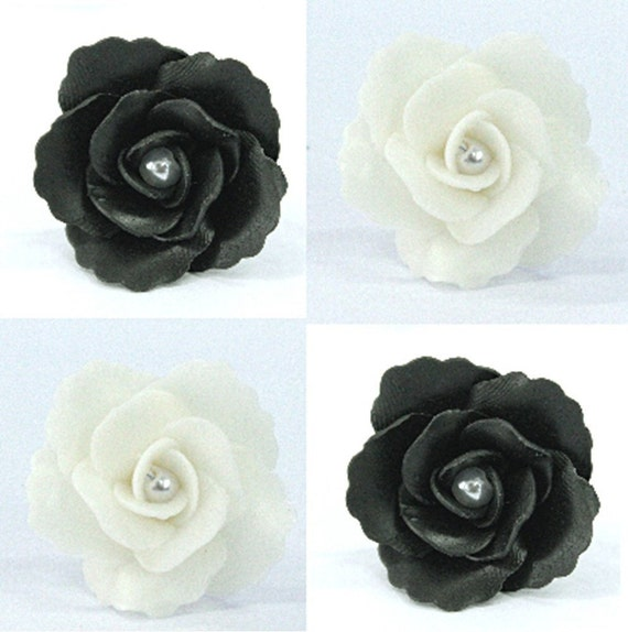 Handcrafted Clay Rose flowers, 2 colors (white and black),  set of 20 pieces
