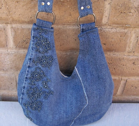 Bohemian - Upcycled - Saddlebag Tote - Denim with Embroidered Floral Motif - Shabby Chic