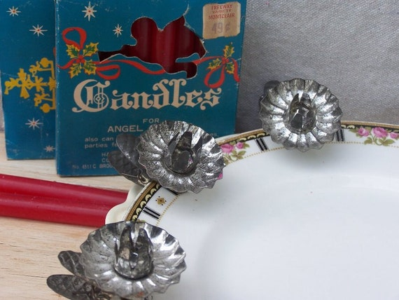 Vintage Tin Clip-on Pinecone Candleholders and Candles