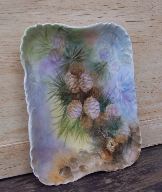 Handpainted Haviland Limoges DecorativeTray with Pinecone Motif - Made in France