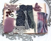 Crushed Berries - DIY kit Textile Cuff. Vintage, Reclaimed Fabrics and beads