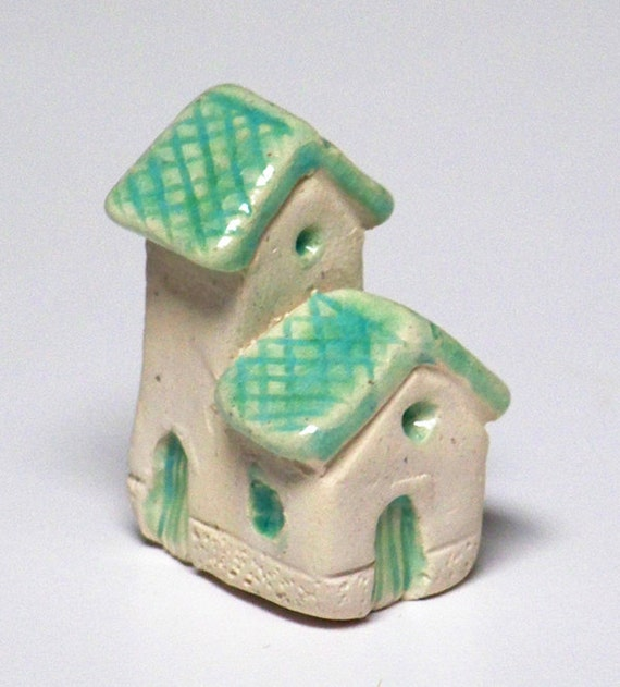 little cottage home - tiny ceramic house with teal colored glaze, lil village no22