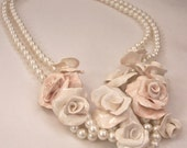Flowers and Pearls Necklace 3 Hand Sculpted One of a Kind