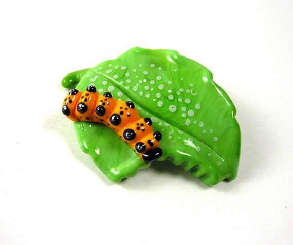 MZ Glass Hungry Caterpillar on a Leaf