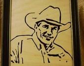 George Strait Handcrafted Wooden Portrait
