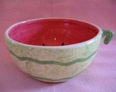 RESERVED for Emily Ceramic Figural Watermelon Fake Faux Food Bowl Fruit Red Seeds Green Stripe Two 2 Tone Color