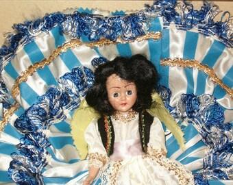 DUCHESS DOLL MIB Vintage 1940s Duchess Dolls of all Nations Box Blink Sleep Eyes Greek Girl Greece Blue Stripe Dress Vest Hat Apron Satin 40