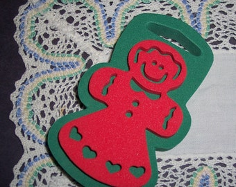 Gingerbread Girl Chunky Stamp Craft Supplies Red Heart Dress Mint Unused Christmas