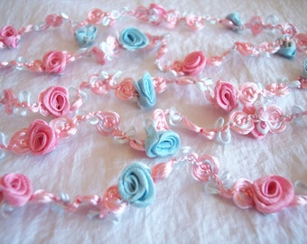 SILK RIBBON TRIM 1940s Antique Vintage Rose Rosette Pastel Color Aqua Blue Pink Almost 2 yards Doll Flapper Sewing Notion Flower Floral Nos