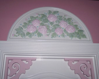 Shabby Pink Rose Door Window Wall Pediment Arch Crown Hand Painted Hp Blue Forget me Nots Demilune White Wood Frame Raised 3d Emboss Flowers