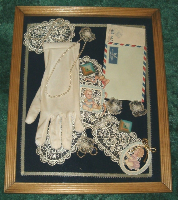 VICTORIAN SHADOW BOX Lace Love Letter Pearls Glove Shadowbox ephemera doily