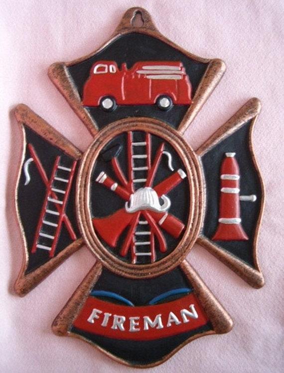 Fireman Cast Iron Maltese Cross Wall Plaque Fire Man Truck
