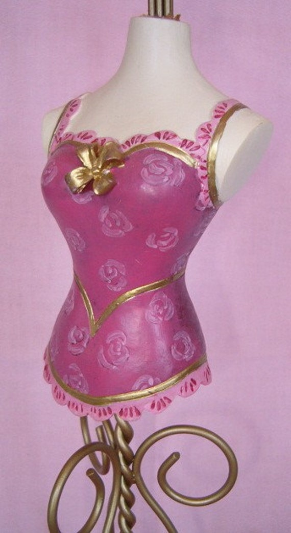 Victorian Pink Rose Corset Dress Form Boudoir By